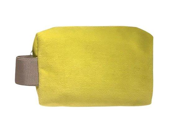 Necessaire Quadradinha plush amarelo