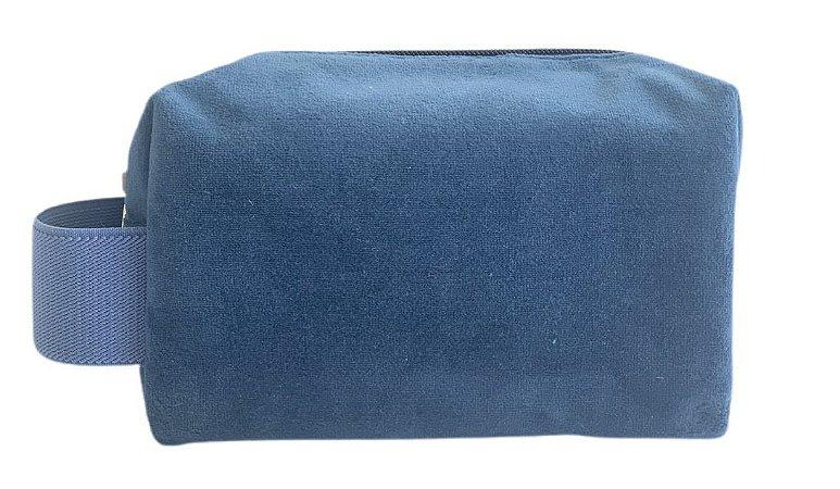 Necessaire Quadradinha plush azul