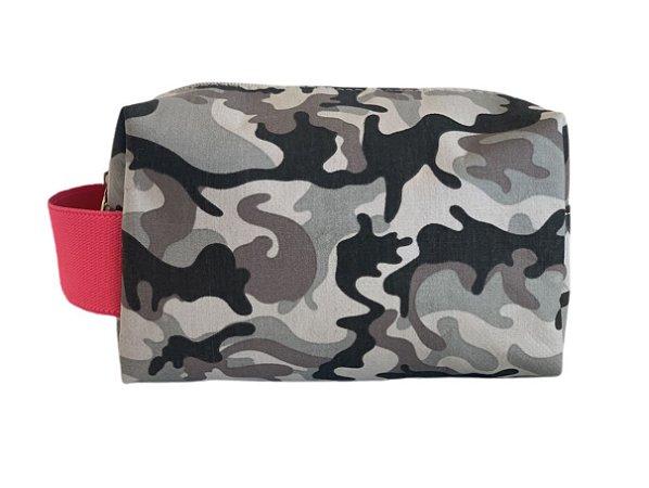 Necessaire quadradinha camuflado cinza com Pink