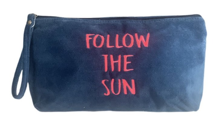 Necessaire Vertical G plush azul follow the sun