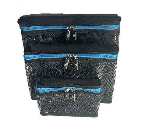 Kit nylon plastificado preto com azul