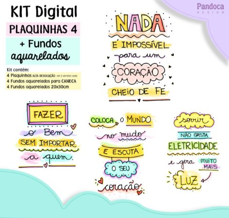 KIT DIGITAL - PLAQUINHAS 4 + fundos