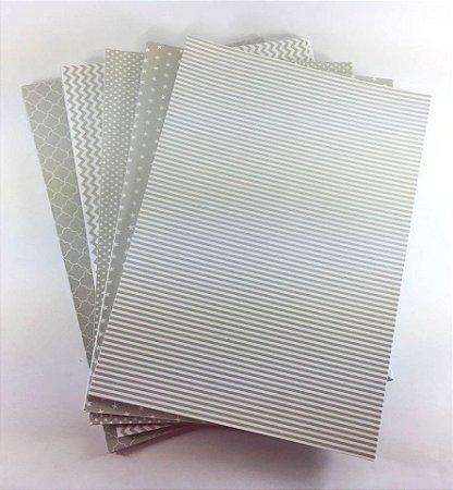Kit Papel Estampado Perolizado Prata