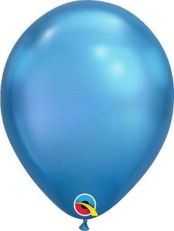 Balão  De Látex Azul Chrome - 10 Unidades