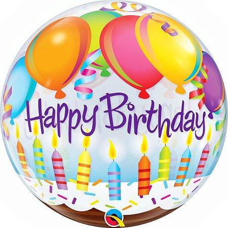Balão Bubble Transparente Balões e velas de aniversário
