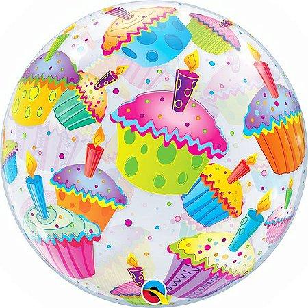 Balão Bubble Transparente Cupcakes