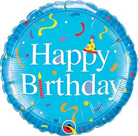 Balão Metalizado Feliz Aniversário Azul