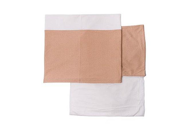 Conjunto lençol de berço bege com marrom