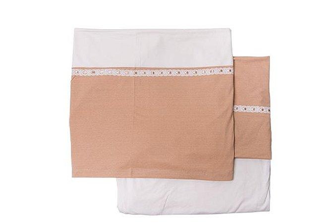 Conjunto lencol mini-cama bege com marrom