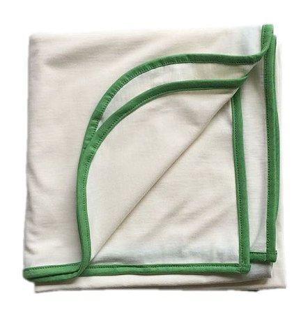 Manta-Cueiro bege com verde