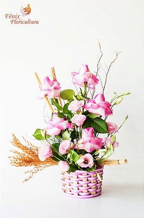Amor com Rosas Importadas e Lisianthus