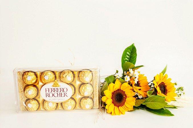 Arranjo De Girassóis Com Ferrero Rocher