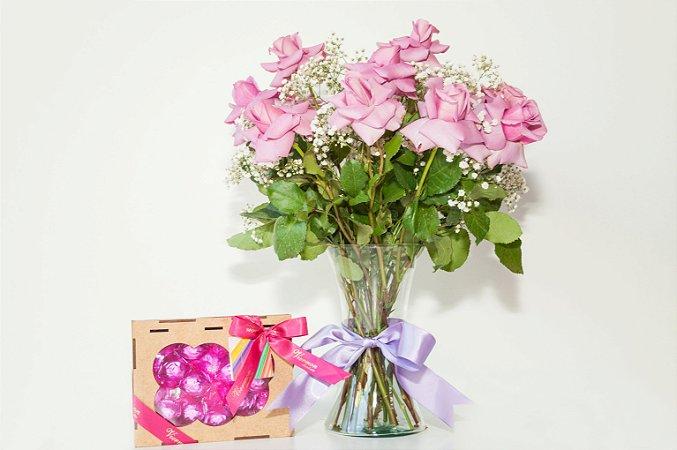 Luxuoso Arranjos de Rosas Nobres com Porta joia de Chocolate