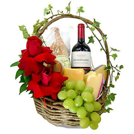 Cesta Luxo Queijo, Vinho e Flores