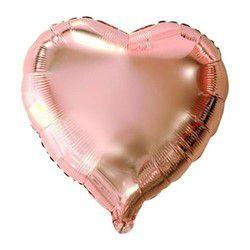 Balão de Coração Metalizado Rosé - G