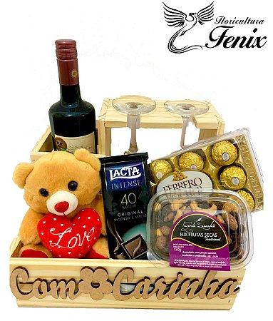 """Kit de Vinho """"Com Carinho"""""""