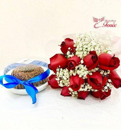 Lembrança de aniversário com flores vermelhas