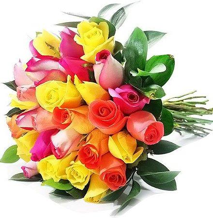 Buquê Amizade com 30 Rosas Coloridas