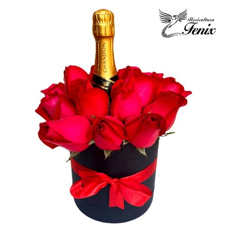 Luxuoso Box de Rosas Com Chandon
