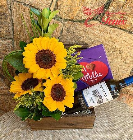 Luxuosos Girassóis Com Chocolate Milka e Vinho Tinto