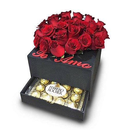 Luxuosa Box de Rosas com Ferrero Rocher.