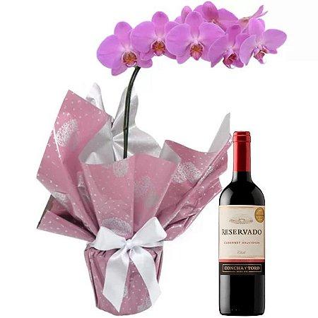 Orquídea Pink Com Vinho Tinto Reservado