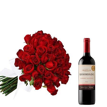 Buquê de 24 rosas com vinho Reservado