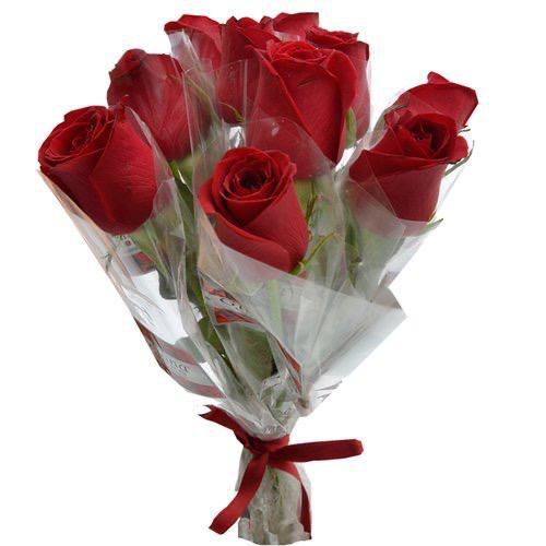 10 Rosas Embaladas em Celofane Transparente
