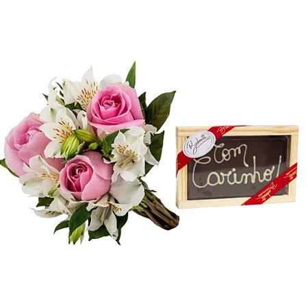 Buquê Trio de Rosas Pink e Chocolate Bombonatti