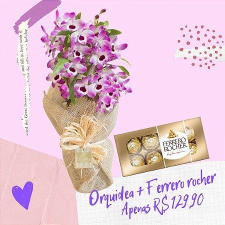 Orquídea Dendrobium com Ferrero Rocher 100g
