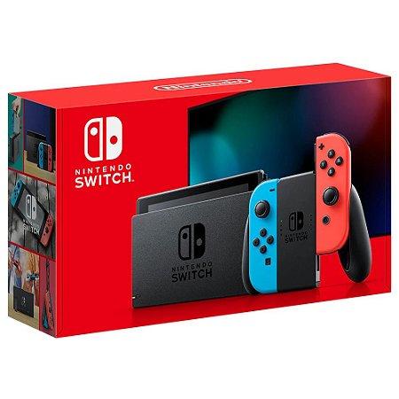 Console Nintendo Switch 32GB + Controle Joy-Con Neon Azul e Vermelho