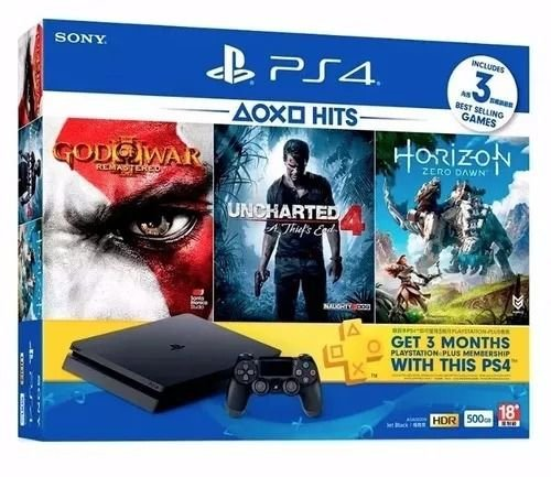 Console Playstation 4 de 500GB Sony CUH-2015A + 3 Jogos + Pack PSN Plus - Jetblack