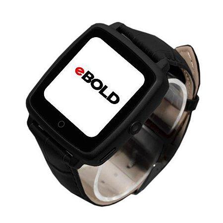 Relógio SmartWatch eBOLD SW-100 com Bluetooth Pulseira de Couro - Preto