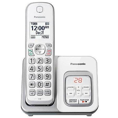 Telefone Sem Fio Panasonic KX-TGD530 RB com Identificador de Chamadas 120V - Branco/Prata
