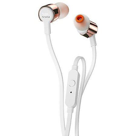 Fone de Ouvido JBL T210 com Microfone - Branco/Rosa