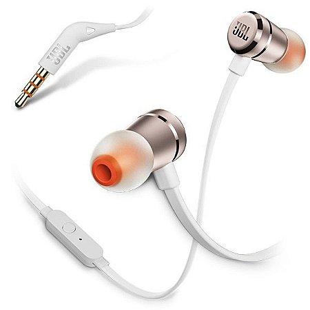 Fone de Ouvido JBL Pure Bass T290 com Microfone - Branco/Rosê