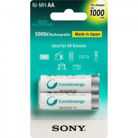 Pilha Recarregável Sony AAA com 2 900mAh NiMh NH-AAA-B2GN