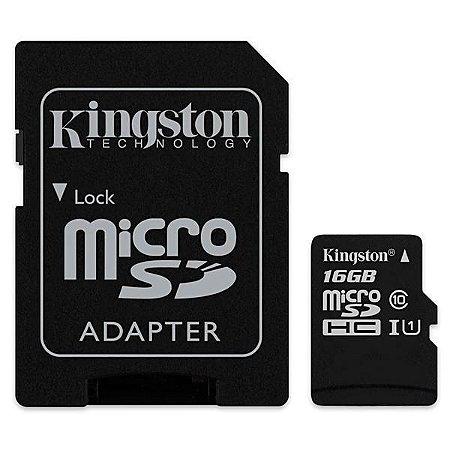 Cartão de Memória Micro SD Kingston SDCS de 16GB MSDHC-I - Preto