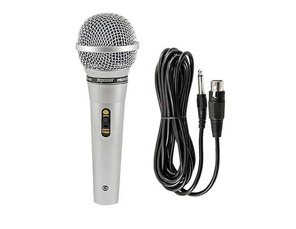 Microfone topsom ts10 karaoke prata