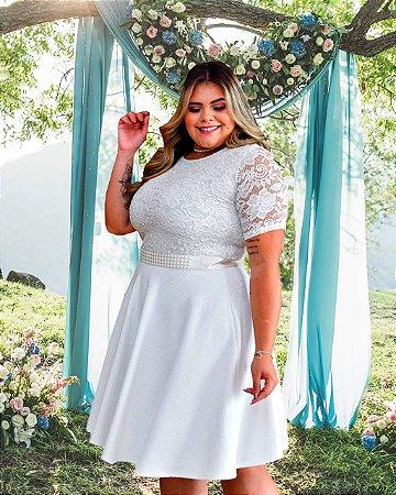 Vestido Casamento Civil Plus Size Branco Manga Curta