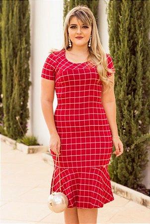 Vestido Moda Evangélica Midi Xadrez