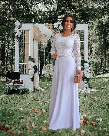 Vestido de Noiva Casamento Longo Manga Longa