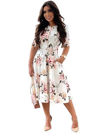 Vestido Moda Evangélica Floral com Bolso e Cinto