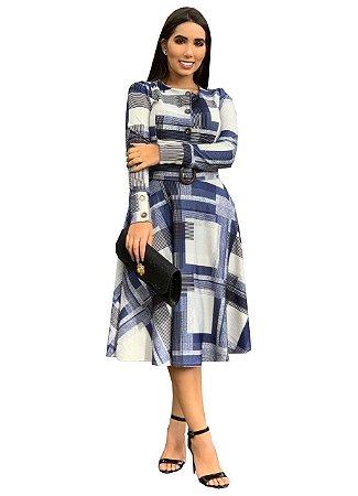 Vestido Moda Evangélica Azul Xadrez