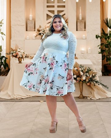 Vestido Plus Size Casamento Civil Branco Floral Manga Longa