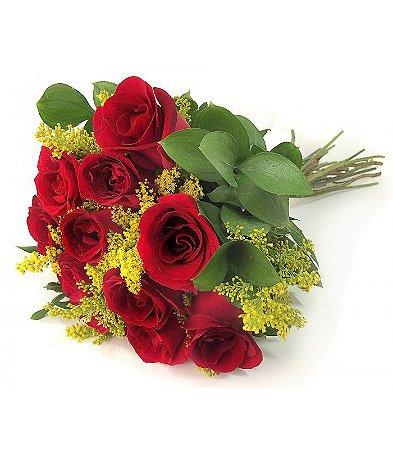 Buquê 12 rosas vermelhas