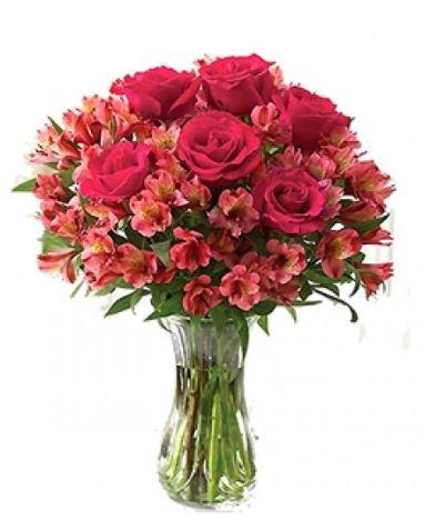Buquê Rosas e Astromelias em Vaso