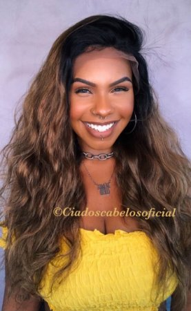 Peruca lace front cabelo humano ombre ondulado 10
