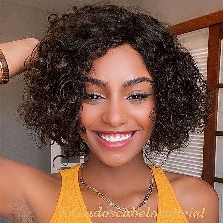 Peruca cabelo humano brasileiro crespa TAM P