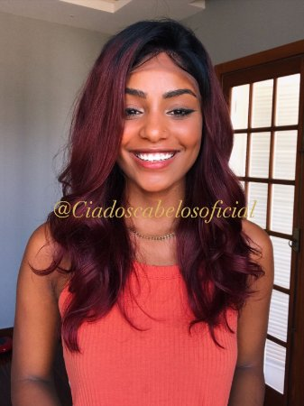 Peruca lace front Cabelo humano Eduarda red
